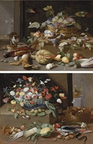 A basket of grapes, on a ledge with partridge, lemons, squashes and other fruits and vegetables, and game; and A porcelain bowl of tulips, roses and irises with a parrot, figs and grapes on a ledge with other fruit, vegetables, fish and a basket of mushrooms