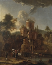 A mountainous river landscape with cattle drovers making a crossing by a ruined castle