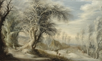 A winter landscape with a woodsman and travellers