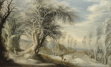 A winter landscape with a wood