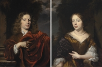 Portrait of a gentleman, half-length, in a red mantle, beside a column; and Portrait of a lady, half-length, in a golden dress with a blue mantle, and pearls, in a landscape