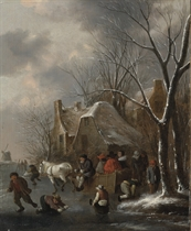 A winter landscape with figures desporting on the ice and a horse-drawn sledge passing a cottage