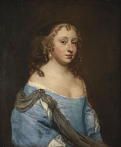 Portrait of a lady, half-length, in a blue dress and pearl earrings