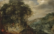 An extensive forest landscape with a hunting party at rest, a town in a mountain valley beyond