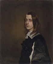 Portrait of Nathaniel, 3rd Baron Crew of Stene, later Lord Bishop of Durham, when a young man, half-length, in a slashed black doublet and a lawn collar