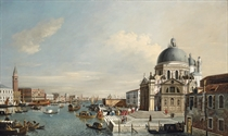 The entrance to the Grand Canal, Venice, looking east, with the Church of Santa Maria della Salute and the Bucintoro moored at the Riva degli Schiavoni, the Mint, the Library and the Ducal Palace beyond