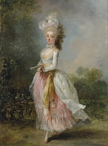 Portrait of a lady, said to be Marie-Madeleine Guimard, called Mademoiselle Guimard, ballerina of the Paris Opéra (1743-1816), full-length, in a pink-and-white dress with a yellow sash and a feathered hat, holding a fan