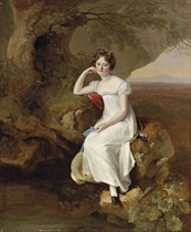 Portrait of Elizabeth Broadhead, later Lady Dashwood (1801-1889), small full-length, in a white dress, seated in a landscape, holding a sun hat