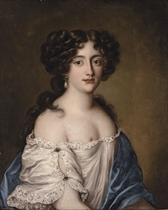 Portrait of Ortensia Mancini, as Aphrodite, half-length, in a white chemise and blue shawl