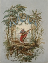 A musician playing a Chinese lute in an ornamental garden