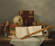 A vanitas still life with a lute, music, books, a skull and playing cards on a table