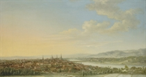 A panoramic view of Dresden, with the Frauenkirche, the Hofkirche and the Augustus Bridges