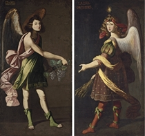 An Allegory of the Eucharist: An Angel bearing grapes; and An Angel bearing grain