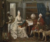 Portrait of a nobleman and his wife, with a servant stoking the fire