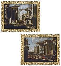 A capriccio of Roman ruins wit