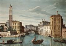 The entrance to the Cannareggio, Venice, with the Church of San Geremia and the Rialto Bridge