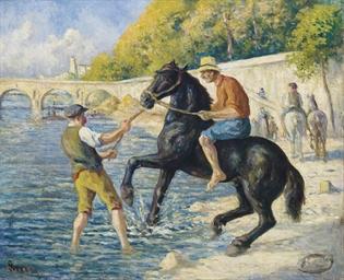 La baignade des chevaux dans l