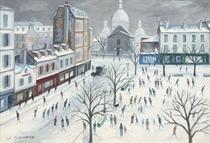 Place du Tertre et le Sacré-Coeur sous la neige