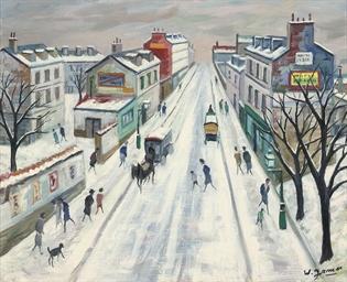 Paris, rue animée sous la neig