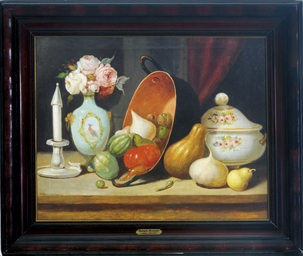 Still life with gourds, tomato