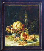 Still life of grapes, melons and peaches on a table