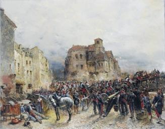 Army advancing through a ruine