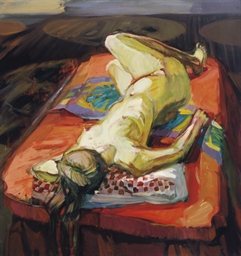 Reclining nude on a red bed