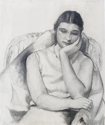 Woman resting in a chair; and