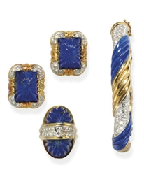 A SET OF LAPIS LAZULI, DIAMOND