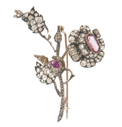 AN ANTIQUE PINK TOPAZ, GARNET,