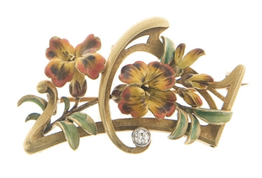 AN ART NOUVEAU ENAMEL AND GOLD