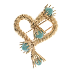 A TURQUOISE AND GOLD BROOCH, B