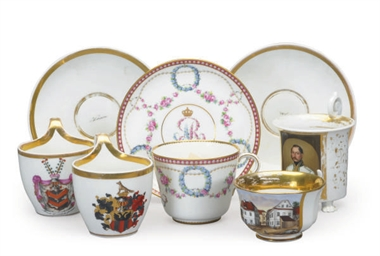 A GROUP OF GERMAN PORCELAIN CU