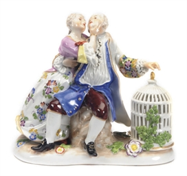 A MEISSEN STYLE FIGURE GROUP O