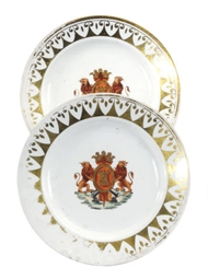 TWO ENGLISH PORCELAIN ARMORIAL