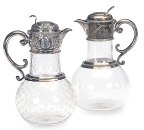 TWO VICTORIAN SILVER-MOUNTED G
