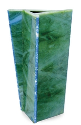 A THREE-SIDED NEPHRITE VASE,