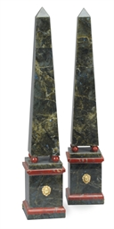 A PAIR OF LABRADORITE OBELISKS