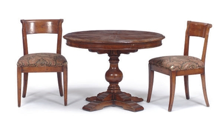 A STAINED WOOD DINING SUITE,