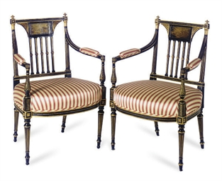 A PAIR OF REGENCY EBONIZED, PA