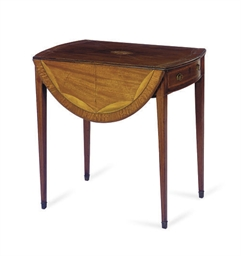 AN ENGLISH INLAID MAHOGANY AND