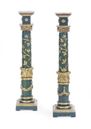 A PAIR OF GREEN-PAINTED AND PA