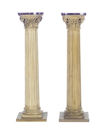 A PAIR OF OAK COLUMNAR MARBLE