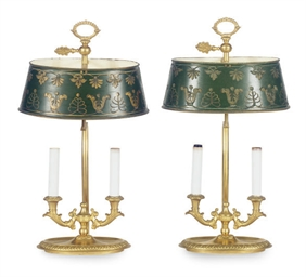 A NEAR PAIR OF GILT-BRONZE TWO