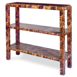 A FAUX TORTOISHELL ETAGERE,