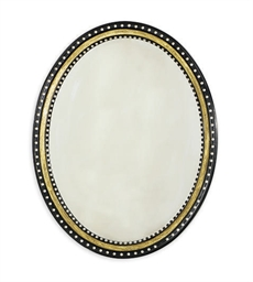 AN OVAL EBONIZED, PARCEL-GILT,