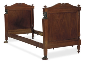 A FRENCH EMPIRE MAHOGANY AND E