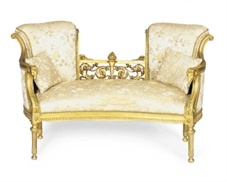 A FRENCH GILTWOOD AND UPHOLSTE