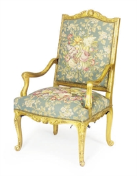 A FRENCH GILTWOOD FAUTEUIL,