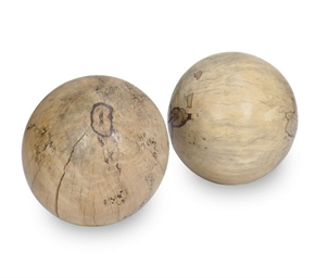 TWO WOOD SPHERES,